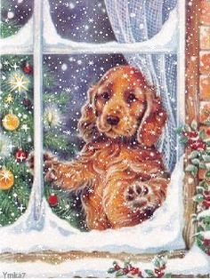 Christmas - Dog watching through window. Christmas Scenes, Noel Christmas, Christmas Animals, Vintage Christmas Cards, Christmas Pictures, Winter Christmas, Christmas Puppy, Illustration Noel, Christmas Illustration