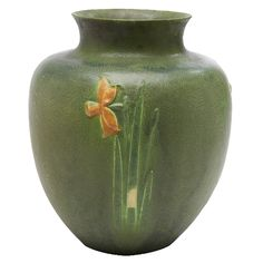 grueby faience company wilhelmina post b decorator daffodil vase boston ma matte three color glazed pottery impressed logo number and incised - Faience Colore