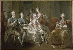 Maria Teresa's family; The Duke of Penthièvre; Prince of Lamballe; Princess of Lamballe; Mademoiselle de Penthièvre next to the Countess of Toulouse