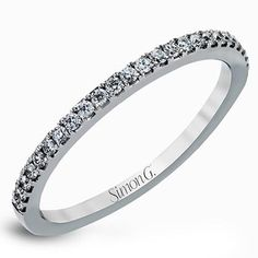 Simon G. 18K White Gold Ladies Diamond Prong Set Wedding Band Featuring 0.14 Carats Round Cut Diamonds.Style TR128-B