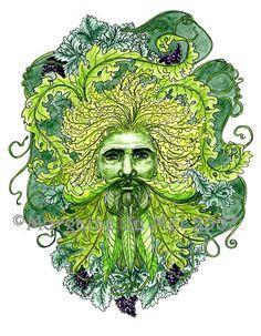 GreenMan of Grapevines Print Pagan Fantasy Art Nature Mythology