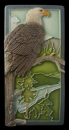 """American Eagle"" 4 x 8 inch Art tile Animal art Decorative tile by MedicineBluffStudio on Etsy💗 Azulejos Art Nouveau, Art Nouveau Tiles, Arts And Crafts Movement, Intarsia Wood, Plaster Art, Unique Tile, Clay Tiles, Decorative Tile, Mural Art"
