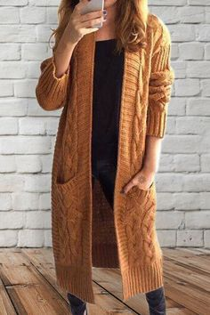 Stylish Long Sleeve Cable-Knit Long Cardigan For Women $13.99