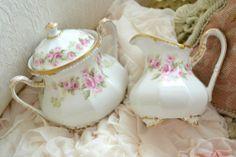 Beautiful Antique Elite Limoges Porcelain Cream and Sugar
