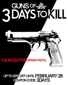 Taurus M9 PT92 Airsoft Spring Gun Pistol $18.39 with code '3DAYS' http://www.airsplat.com/items/AP-PS-M9-BLK.htm  Check out more Guns of 3 Days to Kill! http://www.airsplat.com/Guns-of-3-Days-to-Kill.htm  Does anyone dare to sport a spring gun on the field?