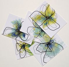 Mini Print set / Postcards Watercolor Florals by Tuesdaymoon, $8.99