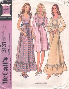Boho Vintage 1972 McCalls Pattern for a Dress, Pattern # 3131. Printed Pattern.  Misses Dress  High waisted dress has back zipper. A, C have ruffles. A with novelty trim, B with ribbon trim have puffed sleeves with wrist elastic. C has armhole ruffle, ribbon tie.    All pattern pieces and instructions accounted for; used - cut to shorter length but extensions to lengthen again are included. The envelope shows yellowing, creasing/wrinkling and quite a bit of edgewear, with abraded edges&#...