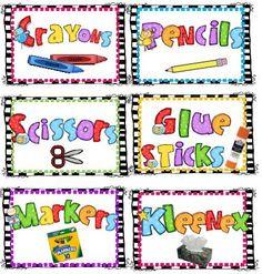 First Grade Fever!  zebra classroom supply labels