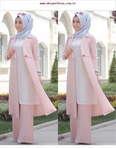 Kleidung Hijab - Blue Page Hijab Outfit, Hijab Style Dress, Hijab Chic, Abaya Fashion, Modest Fashion, Fashion Outfits, Muslim Women Fashion, Islamic Fashion, Abaya Mode