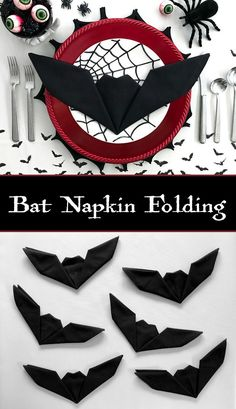 Bat Napkin Folding - Batman Decoration - Ideas of Batman Decoration - Get creative with your Halloween place settings! These fun bat napkins are a cinch and take less than one minute to fold. No need to be an origami expert to master this technique. Happy Halloween, Halloween Snacks, Halloween Tags, Halloween Dinner, Halloween Projects, Halloween 2018, Holidays Halloween, Halloween Themes, Halloween Wedding Decorations