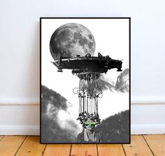 Surreal collage art moon art print spaceship by MyLettersOnTheWall