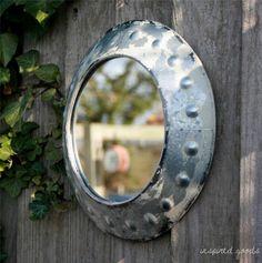 Distressed Rustic Metal Porthole Wall Mirror Garden Bathroom Vintage Shabby Chic