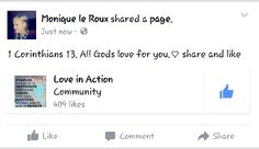 Go and like this page on Facebook.  LOVE IN ACTION. GOD  really loves you
