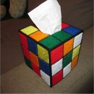 Rubiks Cube Tissue Box Cover courtesy of Geek Crafts