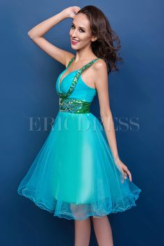 Pinup short strap neck knee-length Renata's prom dress