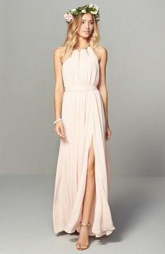 Lulus Gold Metallic Halter Neck Chiffon Gown