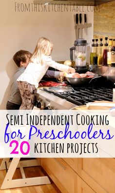 Cooking for Preschoolers From This Kitchen Table is part of Preschool cooking - Great cooking for preschoolers ideas! These semiindependent ideas will keep your kids busy and you'll have a kid friendly dinner or treat out of it too Cooking With Toddlers, Kids Cooking Recipes, Cooking Classes For Kids, Cooking Games, Kids Meals, Cooking Tips, Healthy Recipes, Cooking School, Kid Cooking