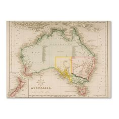 J. Archer Map of Australia and New Zealand ($46) ❤ liked on Polyvore featuring home, home decor, wall art, map home decor, map wall art, trademark fine art, colorful wall art and colorful home decor