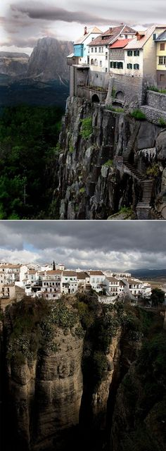 Ronda is a  little mountain town in Malaga,   Spain situated  just above the canyon, on the edge of those cliffs. Amazing!