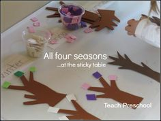 A terrific hands on way to teach children the passage of time: All four seasons at the sticky table from Teach Preschool!--have trees precut and squares cut to glue down Preschool Weather, Weather Activities, Preschool Science, Preschool Crafts, Teach Preschool, Crafts For Kids, Toddler Preschool, Cutting Activities, Preschool Activities