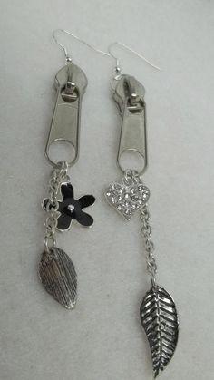 Silver zipper chain earrings flower leaves heart by BeautyRecycled, $12.00