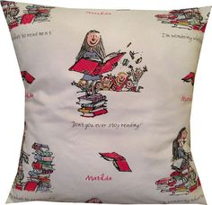 Matilda Cushion | 50 Etsy Items That Will Hit You Right In The Childhood (perfect for my future home's library couch/chair)
