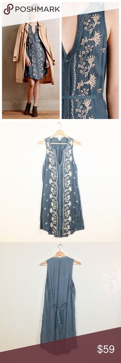 Anthropologie Tiny Syden Shirt Dress Anthropologie Tiny 'Syden' dress, women's size L. Lovely embroidery! Perfect for layering but also so cute all on it's own. 🌸✨ Anthropologie Dresses Mini