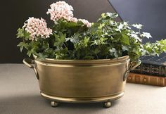 Dessau Home Antique Brass Oval Footed Planter with Handles