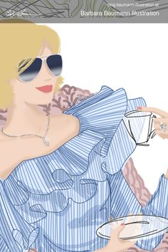 Digital fashion drawing of a stylish woman in dark sunglasses and Carmen blouse sitting in a cozy blanket in a realistic shoe and drinking coffee. The illustration is done digitally on the graphic tablet with a separate layer for the draft to define the human female body and portrait proportions of the face of the lady with the blonde hair. Step by step drawing after rough and simple sketches on the sketchbook paper to find creative ideas with helpful methods and techniques #drawing tips. Paul Green, Fashion Illustrations, Fashion Sketches, Illustrator, Simple Sketches, Human Faces, Illustration Mode, Drinking Coffee, Step By Step Drawing