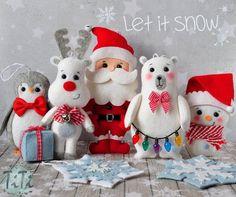 Christmas ornaments, SET of 7 Christmas ornaments, Felt Winter Ornaments, Christmas decor tree Christmas decor, Santa Reindeer Snowman Teddy