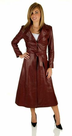 Maroon leather trench coat