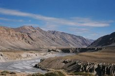 Riverbed, dry, flat, barren, mountains