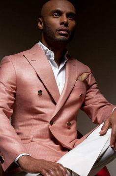 "Kenny Lattimore in Geoff Duran Spring/Summer 2012 ""Taste"" Couture Collection - That Special Occasion Antique Rose Tan Silk & Wool Blazer, Ivory Australian Wool & Cashmere Pant, Ivory Cotton Poplin Shirt 