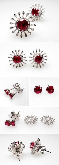 Ruby & Diamond Stud Earrings White Gold - See more stunning jewelry at StellarPieces.com!