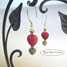 Renaissance Earrings with Ruby Red Hearts & Antique Brass by RoughMagicHolidays #handmade #jewelry