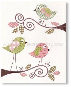 Chambre d'enfant - pariétal bébé chambre de bébé - Bébé fille chambre Nursery décor - oiseaux rose vert - impression Sweet Day - par GalerieAnais
