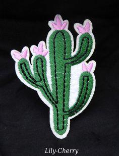 Patch écusson brodé thermocollant cactus fleur rose pin up x1 : Déco, Customisation Textile par lilycherry
