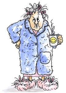 Art Impressions ~ Our grumpy but loveable Maude in bathrobe with curlers and coffee cup. Also see smaller images and Old Lady Humor, Good Day Sunshine, Art Impressions Stamps, Good Morning Funny, Cartoon People, Funny Cards, Whimsical Art, Funny Cartoons, Clipart