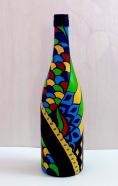 Buy Hand Painted Glass Bottle Vase Multi colored design online India is part of painting Glass Bottles - Hand Painted Glass Bottle Vase Multi colored design Painted Glass Bottles, Glass Bottle Crafts, Wine Bottle Art, Diy Bottle, Bottle Vase, Decorated Bottles, Beer Bottle, Glass Painting Designs, Paint Designs