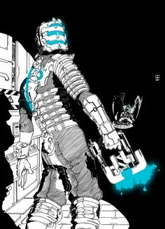 Add colour to the white area of the character ONLY. Dead Space, Photography Software, Fallout Art, Scary Games, Space Artwork, Sci Fi Armor, Pokemon, Video Game Art, Horror Art