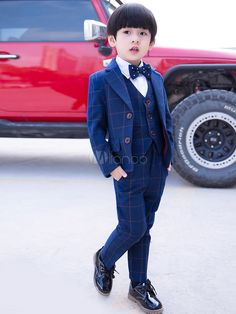 c84d890141e5 Ring Bearer Outfit Wedding Boys Suit Plaid Tuxedo Kids Formal Wear 5 Piece # Wedding,