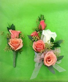 Corsage and boutonnière for the mother and father of the bride by Nancy at Belton Hyvee.