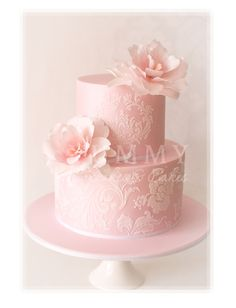 Pale Pink Wedding Cake With Damask Pattern
