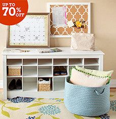 From industrial-chic benches to colorful woven baskets, these storage must-haves will complement any style of decor. Hall trees and closet shelves organizes clothing and more, while classic chests and cabinets keep letters and knick-knacks tucked away. Hanging designs free up floor space, which is a win-win in our eyes.