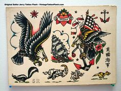 Sailor Jerry Tattoo Flash Sheet - Love the character of the eagle on the right