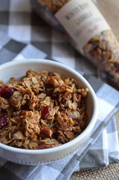 Winter Berry Granola. Brown sugar, spice, and dried berries come together to create this lovely winter granola recipe. Perfect DIY favor idea for weddings, baby showers, bridal showers, or winter parties!  Sponsored by Dunkin' Donuts #DunkinAtHome #BakerySeries #ad