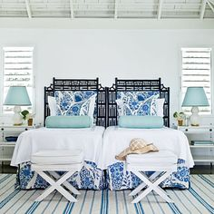 Coastal Living Use What You Have: A pair of twin headboards can stand in for a larger one. This is especially useful in a guest room, where a variety of options might be needed. Simply pull the beds apart when two twin-sized beds better fit your guests' needs.