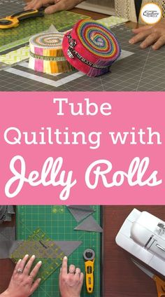 To use the method of tube quilting to make half square triangles, you must first start with two strips of fabric. You can either cut a strip of fabric your desired width or you can use a pre-cut strip of fabric. Ashley uses a pre-cut strip of fabric known Jellyroll Quilts, Patchwork Quilting, Quilting Tips, Quilting Tutorials, Quilting Projects, Crazy Quilting, Sewing Projects, Beginner Quilting, Patchwork Ideas