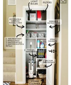 Gather all your cleaning and interior home upkeep supplies into one location like a small coat closet coats can be moved to coat hooks racks in the entry to free up this premium storage space this is the best way to organize your utility closet Linen Closet Organization, Home Organisation, Cleaning Supply Organization, Cleaning Cupboard Organisation, Organizing Small Closets, Storage Organization, Organization Ideas For The Home, Small Apartment Organization, Linen Closet Shelving
