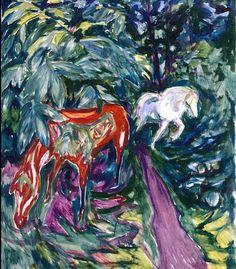 Edvard Munch, dois cavalos na floresta.